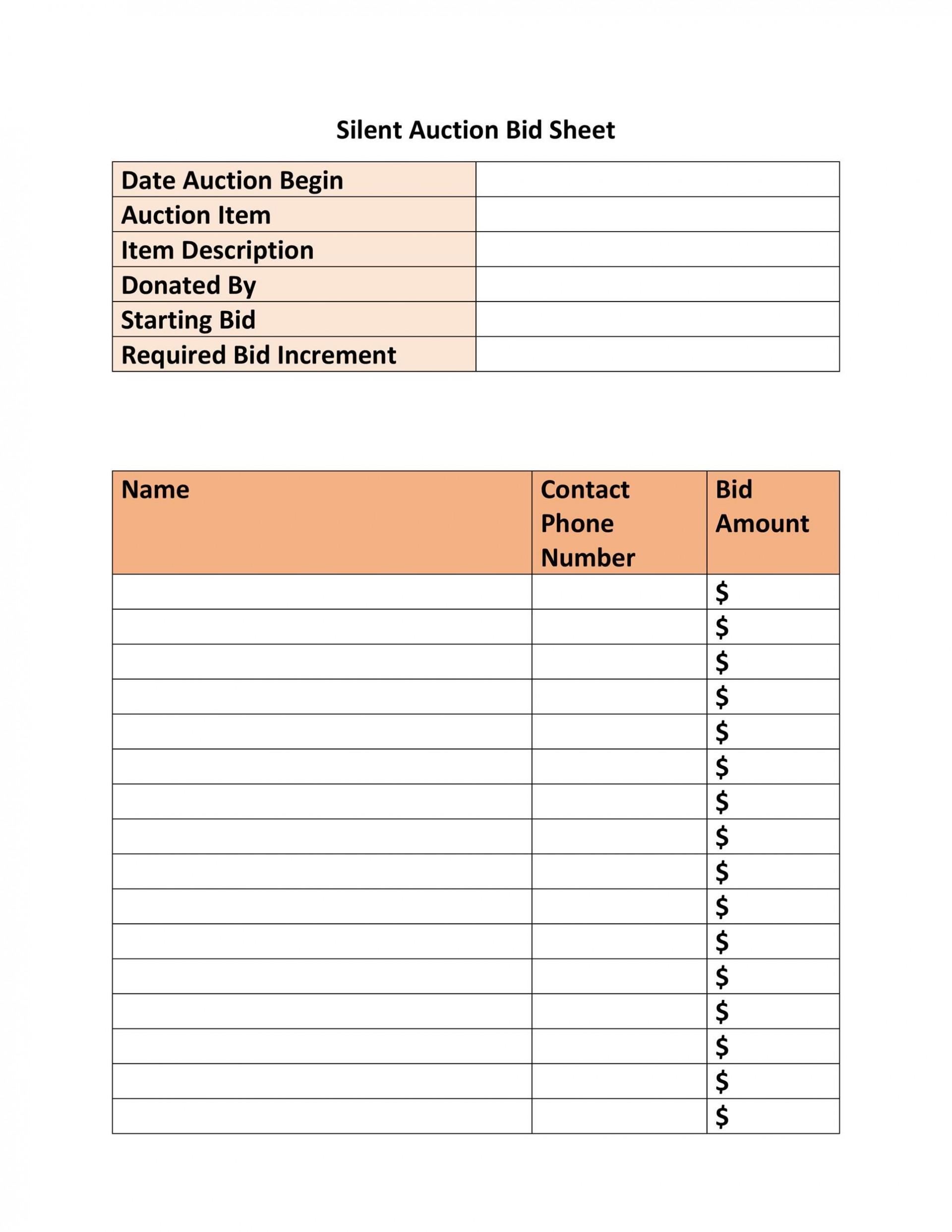 005 Rare Silent Auction Bid Sheet Template Free Inspiration  Pdf Download1920