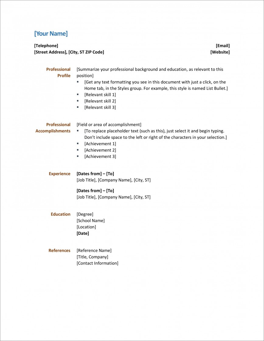 005 Rare Simple Resume Template Download In M Word Image