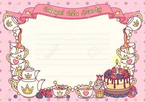 005 Rare Tea Party Invitation Template Image  Vintage Free Editable Card Pdf480