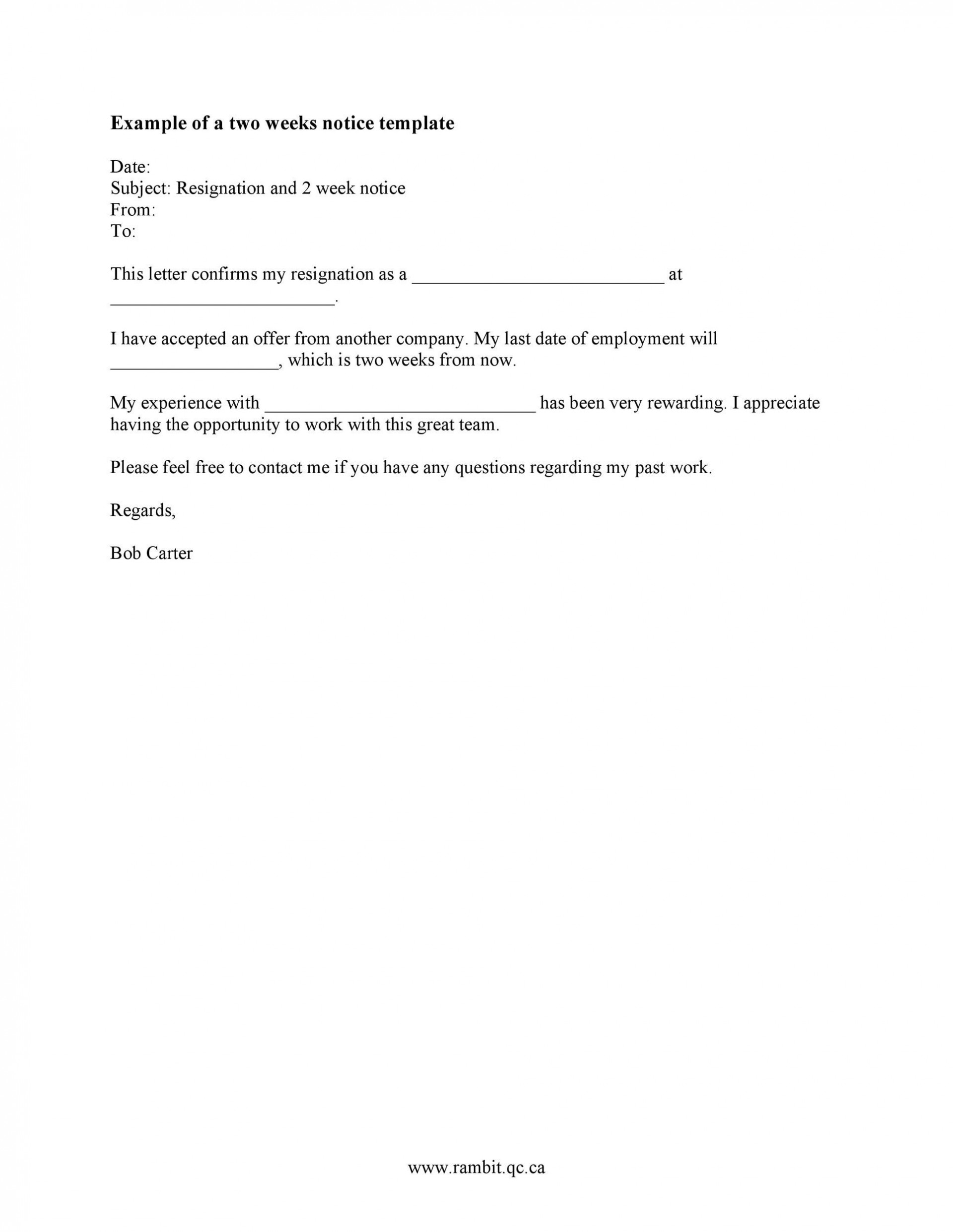 005 Rare Two Week Notice Letter Template Highest Quality  Free Professional 21920