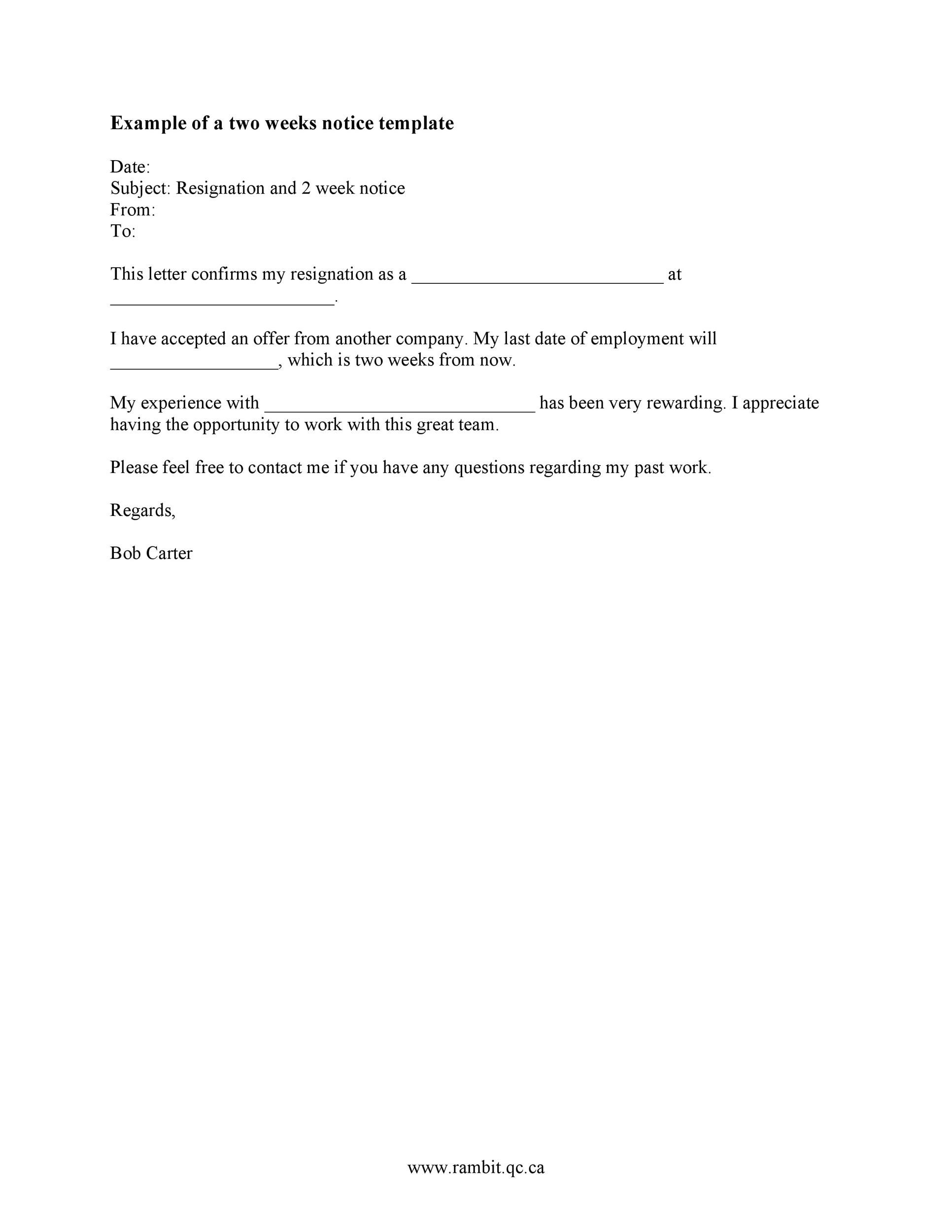005 Rare Two Week Notice Letter Template Highest Quality  Free Professional 2Full