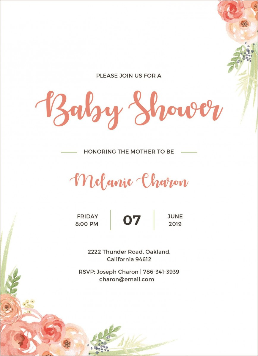 005 Remarkable Baby Shower Invitation Girl Free Design  Online Editable For A Nautical Template