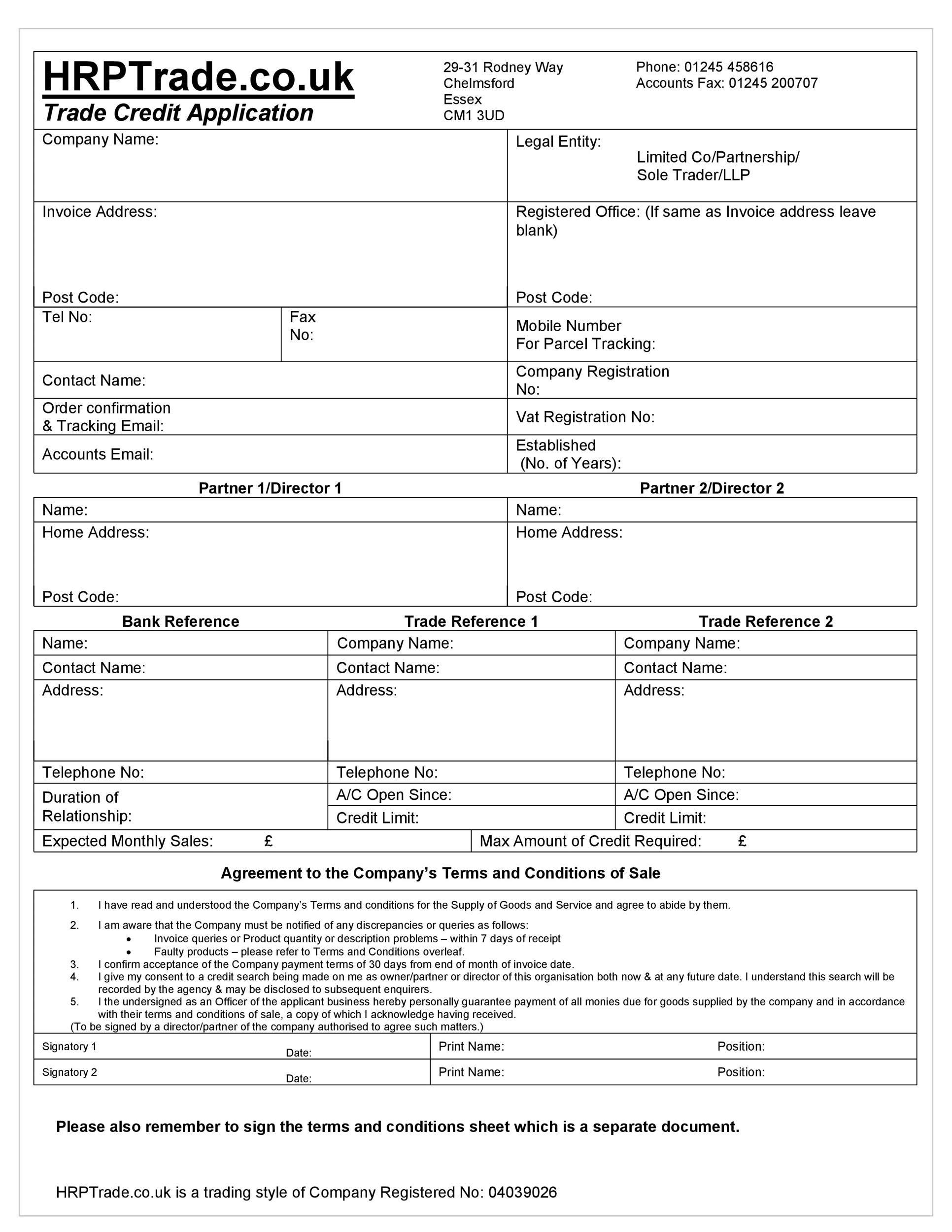 005 Remarkable Busines Credit Application Form Free Inspiration  TemplateFull
