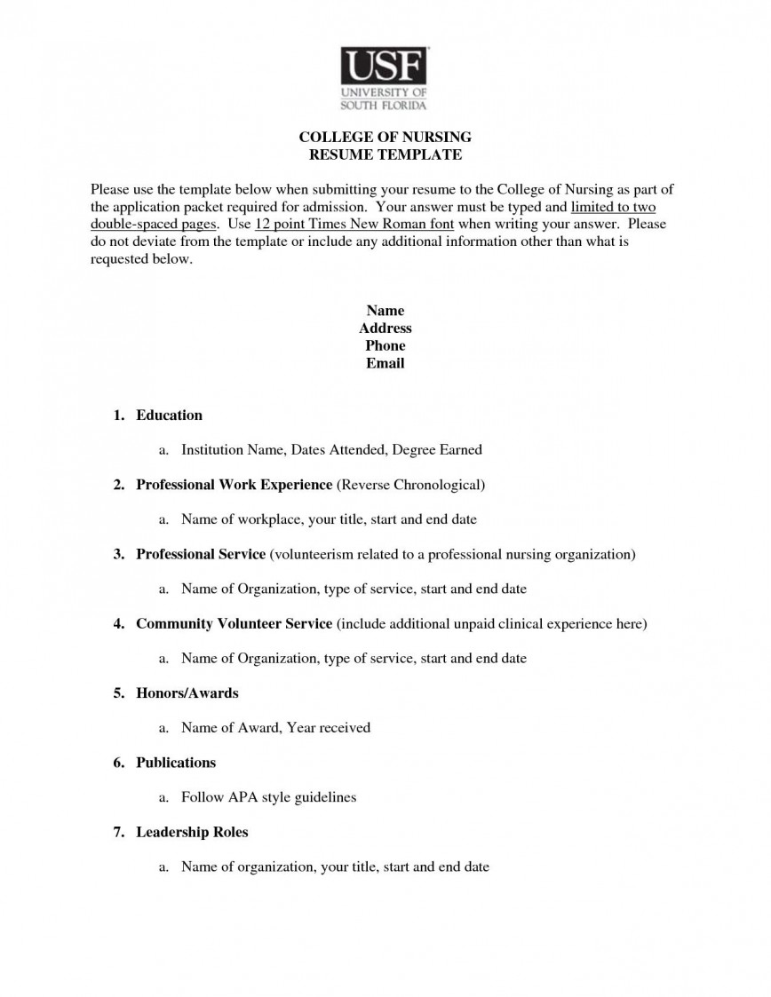 College Applicant Resume Template Addictionary