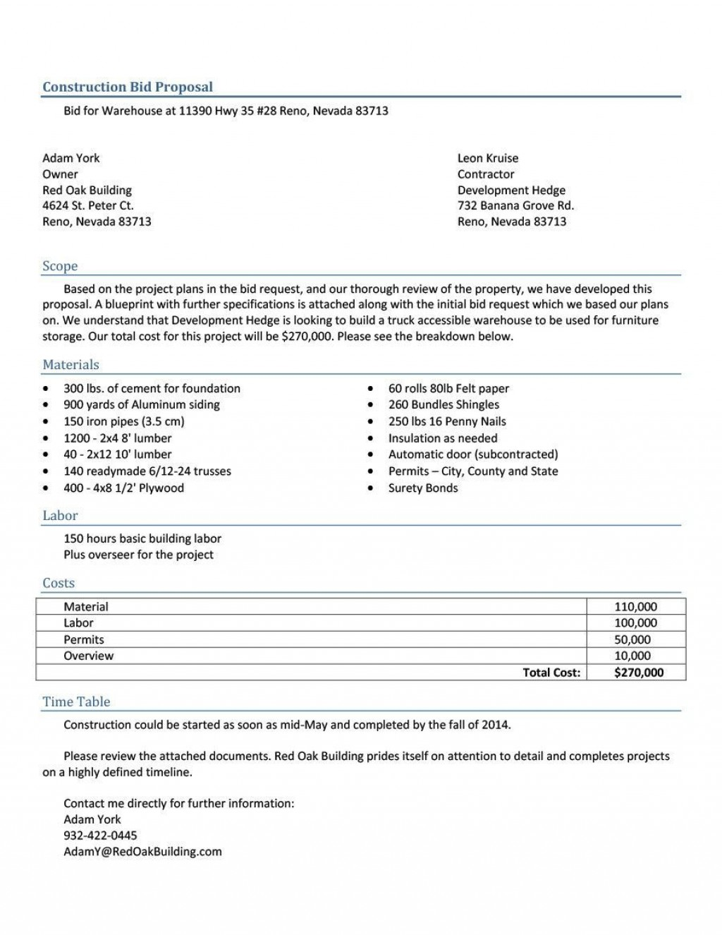 005 Remarkable Construction Job Proposal Template Sample  ExampleLarge