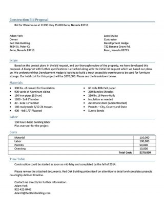 005 Remarkable Construction Job Proposal Template Sample  Example320