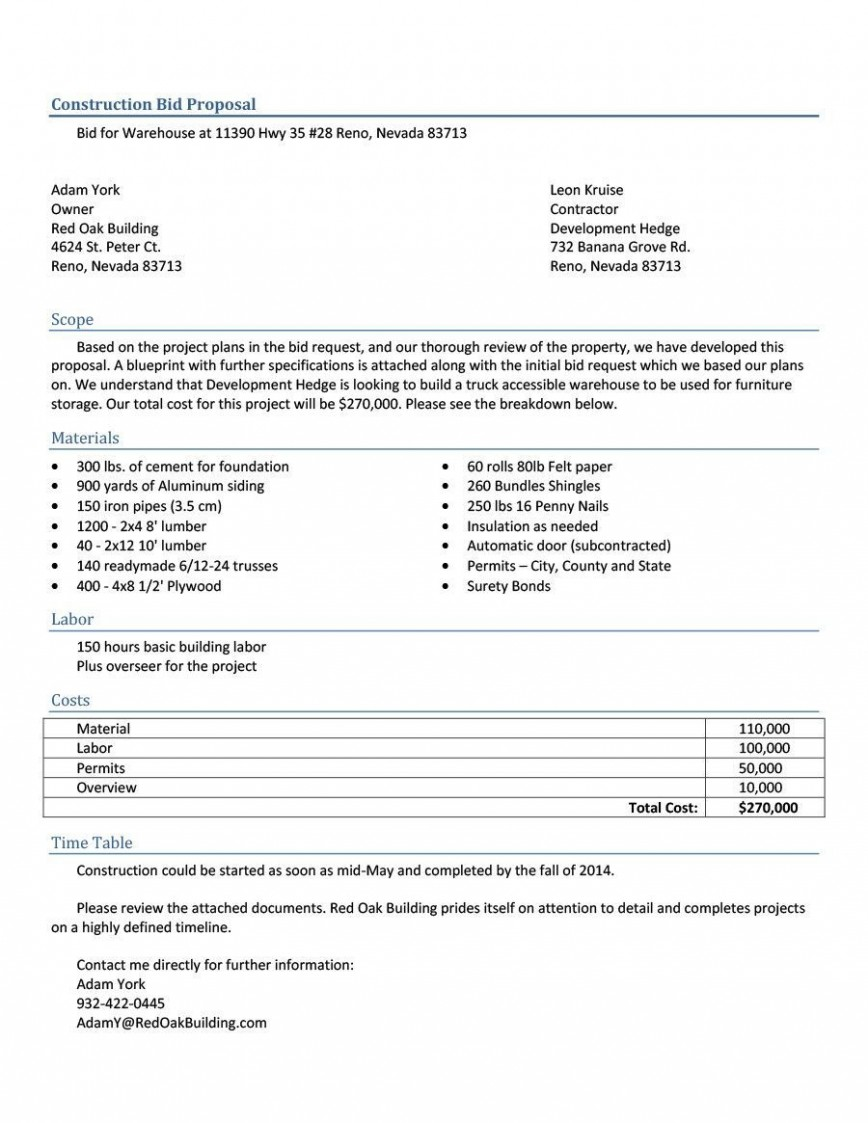 005 Remarkable Construction Job Proposal Template Sample  Example868