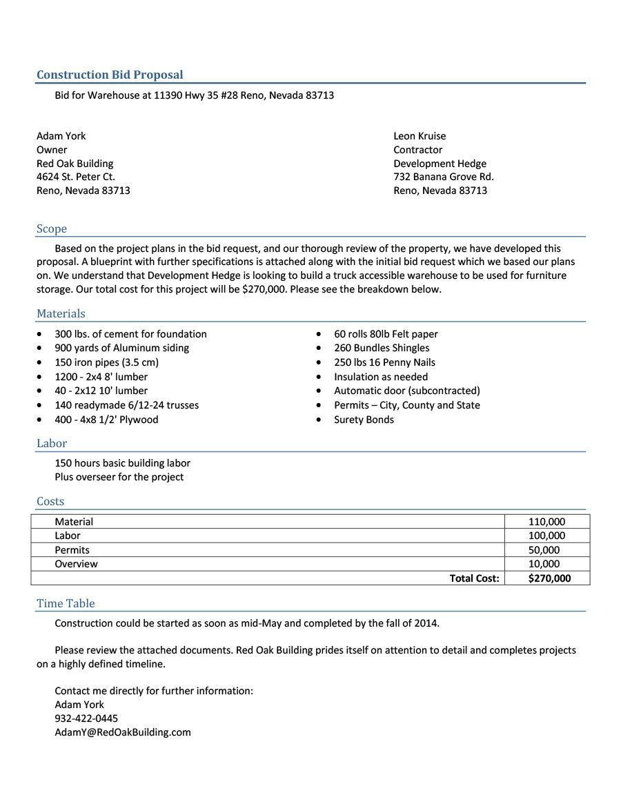 005 Remarkable Construction Job Proposal Template Sample  ExampleFull