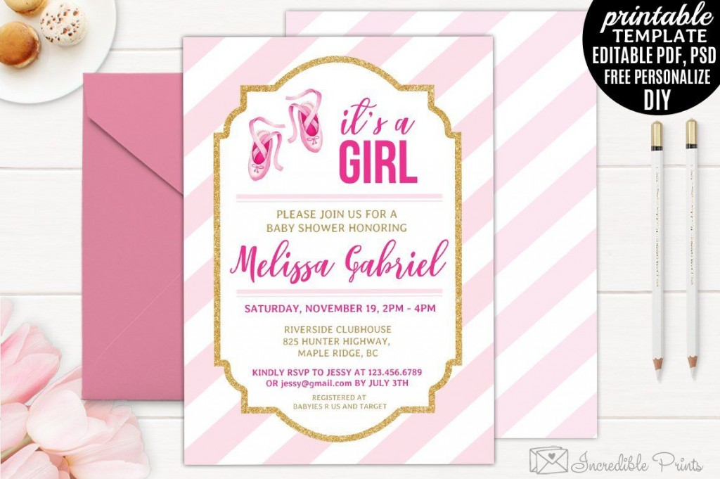 005 Remarkable Diy Baby Shower Invitation Template Highest Clarity  Templates Diaper FreeLarge