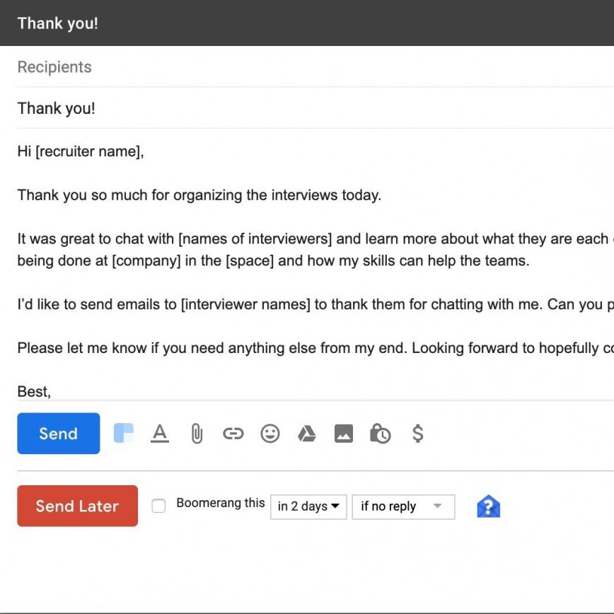 005 Remarkable Follow Up Email Sample After Interview Image  Subject Line Polite Second