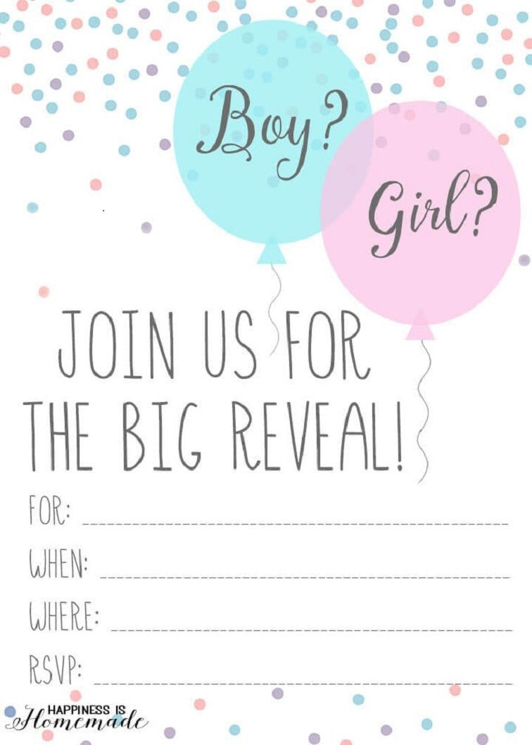 005 Remarkable Gender Reveal Invitation Template Highest Quality  Templates Party Free Printable MakerFull
