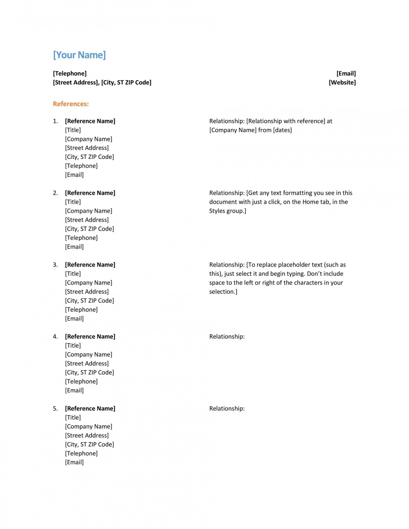 005 Remarkable List Of Professional Reference Sample Photo  Template Employment Format Job Example1400