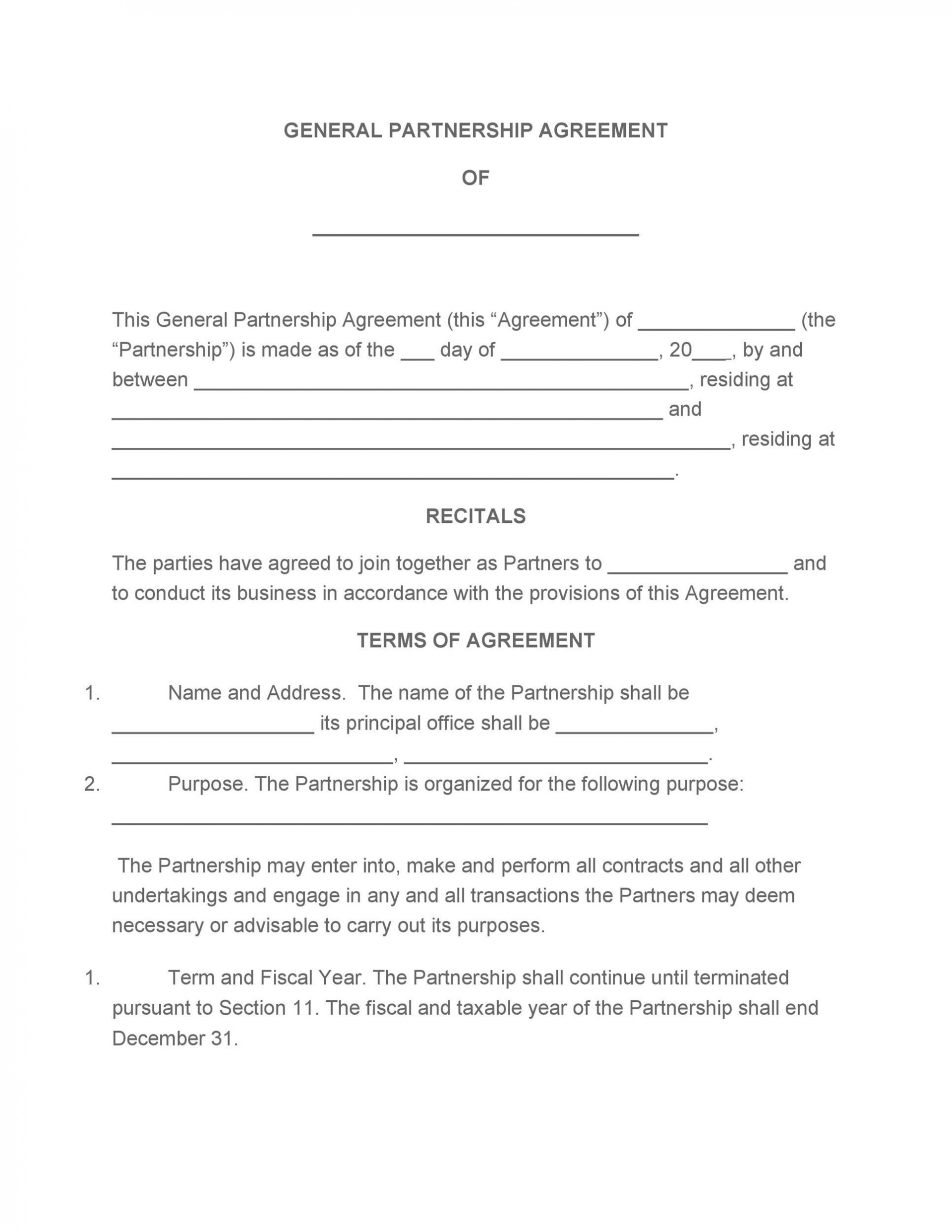 005 Remarkable Partnership Agreement Template Free Picture  Llc Example Sample1920