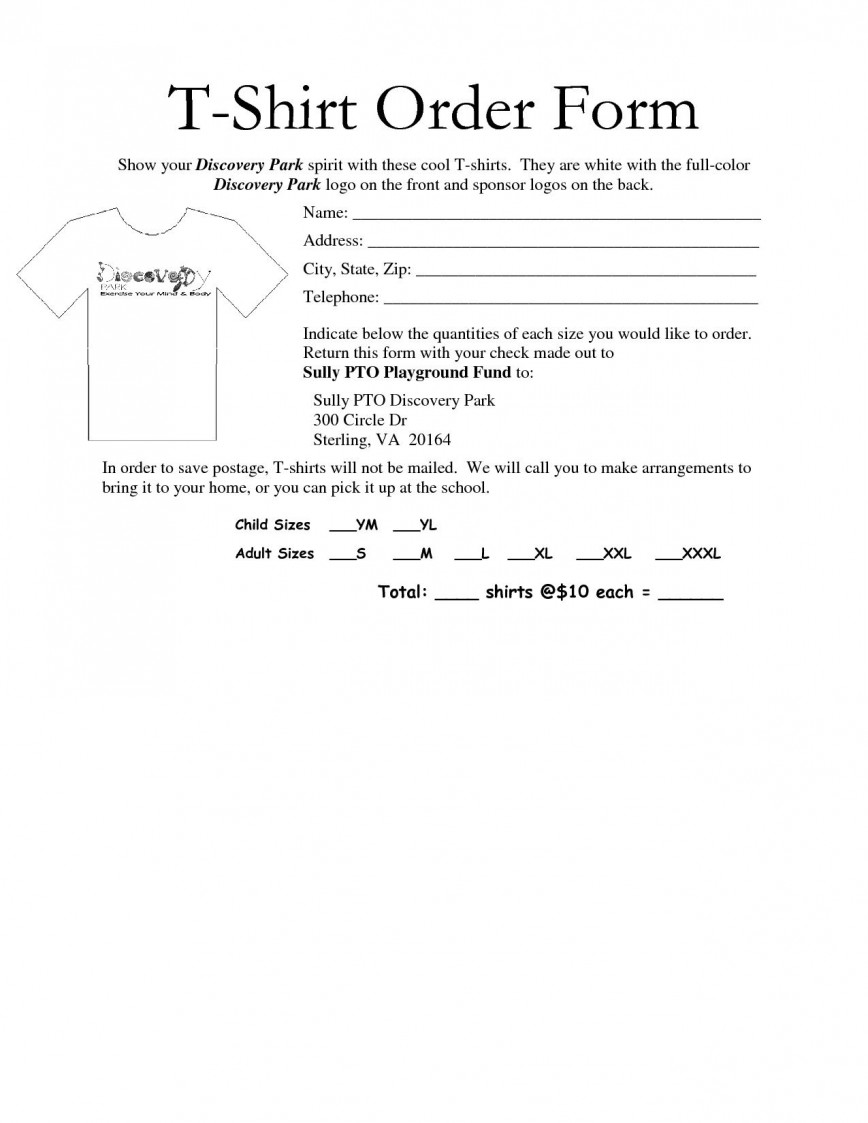 005 Remarkable Shirt Order Form Template Highest Quality  Templates T Excel Free Custom Team