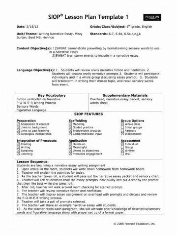 005 Remarkable Siop Lesson Plan Template 1 Sample  Example First Grade Word Document 1st360