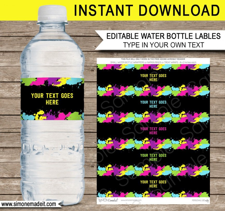005 Remarkable Water Bottle Label Template Image  Free Printable For Graduation Make Microsoft Word Baby Shower
