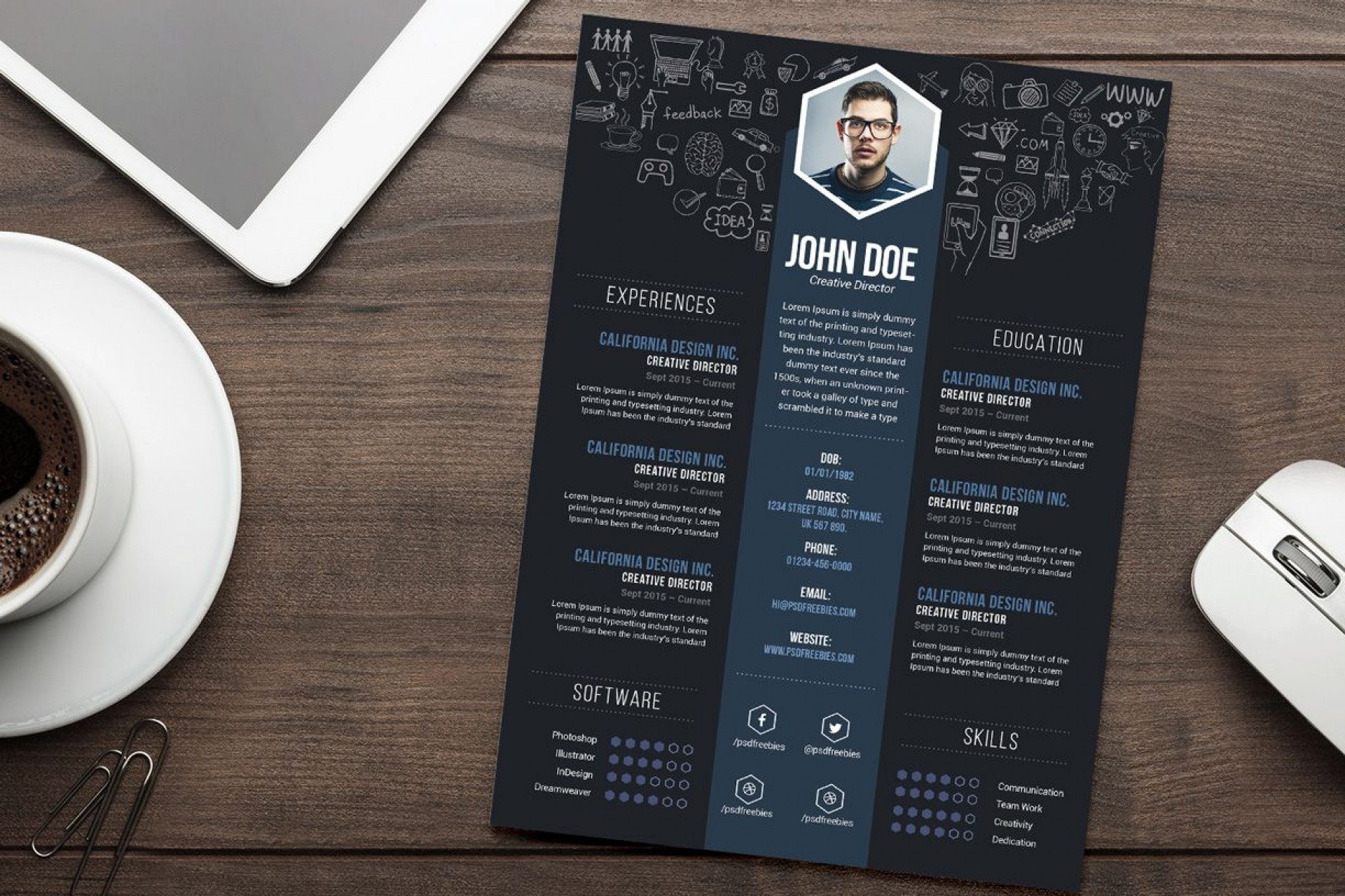 005 Sensational Cv Design Photoshop Template Free Sample  Creative Resume Psd Download1920