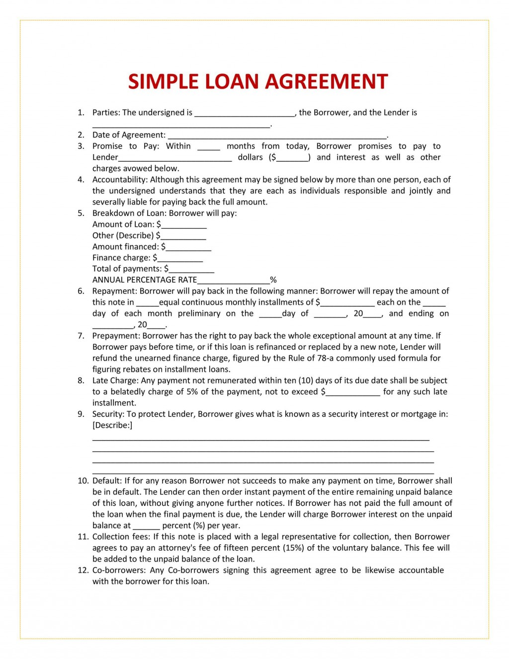 005 Sensational Family Loan Agreement Template Canada Highest Quality Large