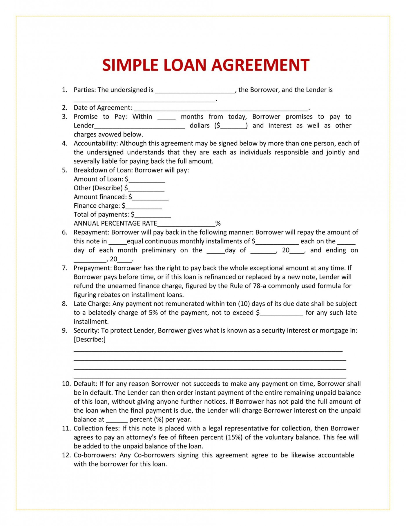 005 Sensational Family Loan Agreement Template Canada Highest Quality 1400