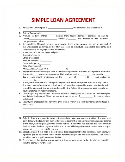 005 Sensational Family Loan Agreement Template Canada Highest Quality 480
