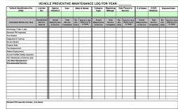 005 Sensational Fleet Vehicle Maintenance Log Template Photo  Excel