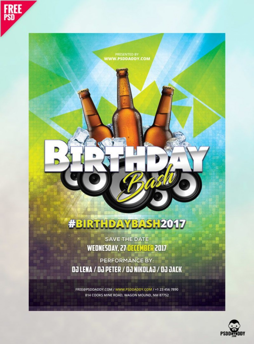005 Sensational Free Birthday Flyer Template Psd Image  Foam Party - Neon Glow Download PoolLarge