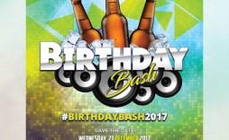 005 Sensational Free Birthday Flyer Template Psd Image  Foam Party - Neon Glow Download Pool