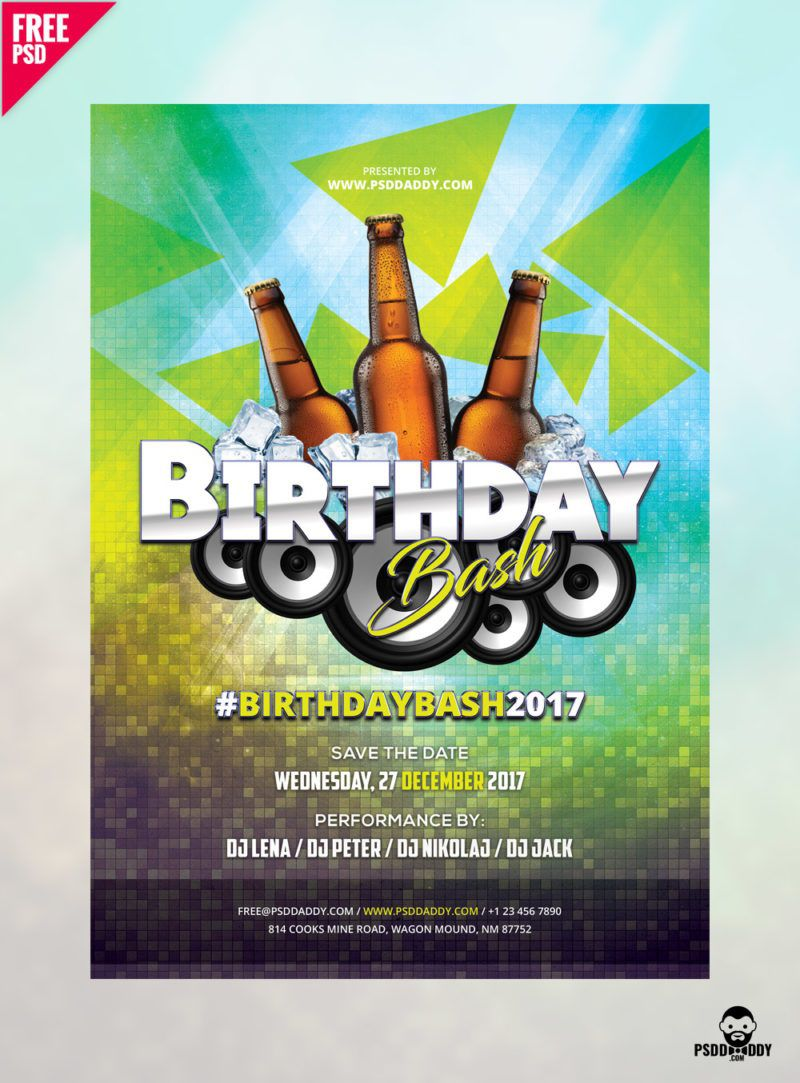 005 Sensational Free Birthday Flyer Template Psd Image  Foam Party - Neon Glow Download PoolFull