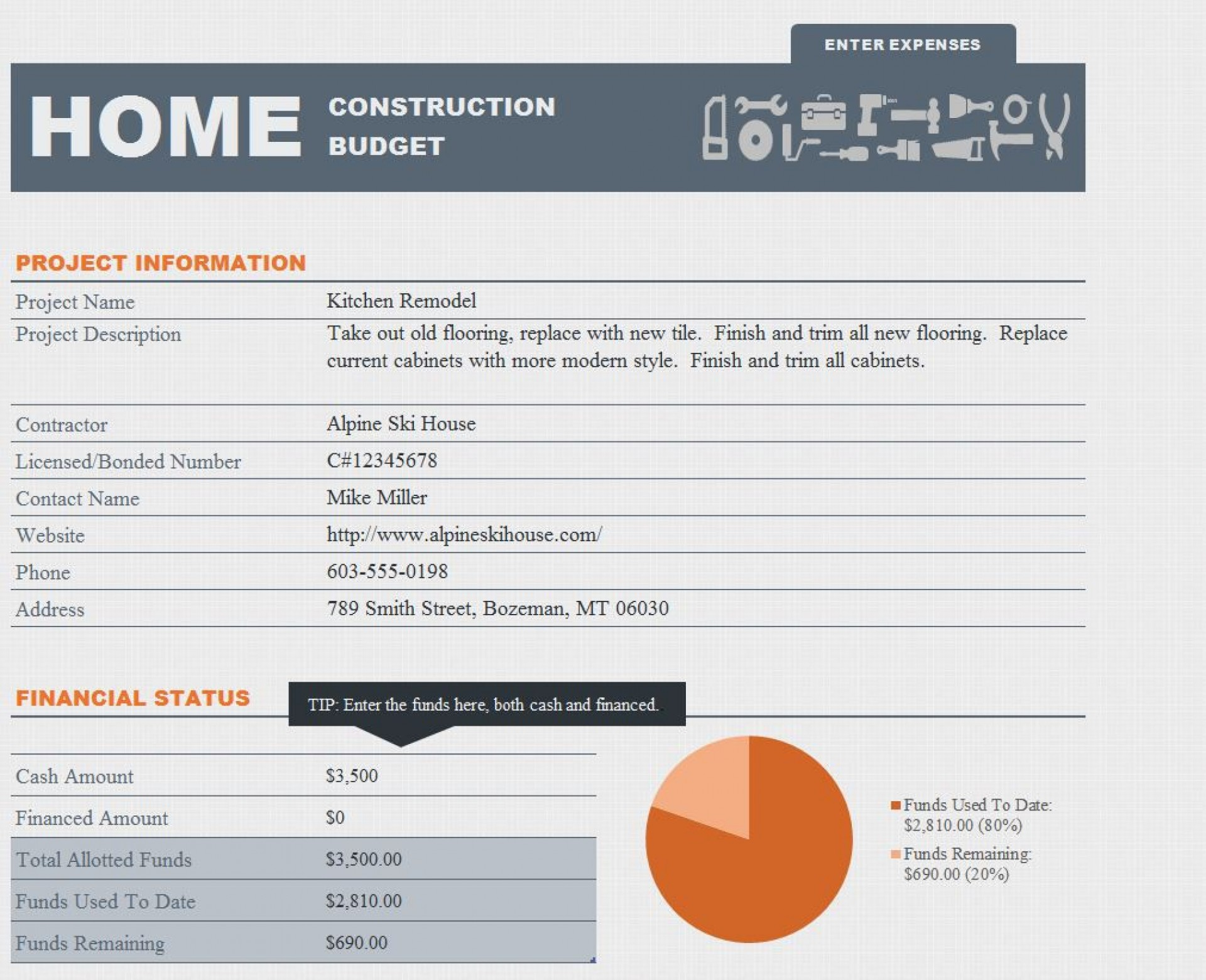 005 Sensational Free Home Remodel Budget Template Example  Renovation Excel Uk Best1920