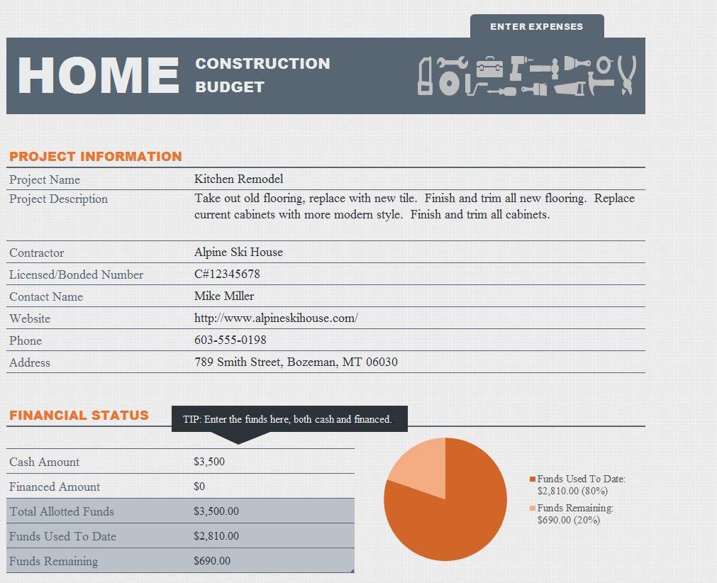 005 Sensational Free Home Remodel Budget Template Example  Renovation Excel Uk BestFull