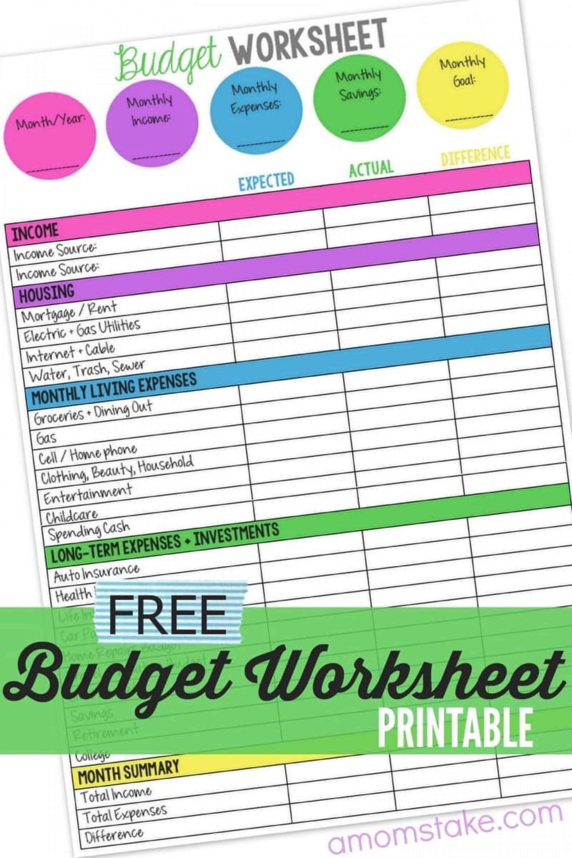 005 Sensational Free Monthly Budget Template Printable Image  Simple Worksheet Household Planner Uk1920