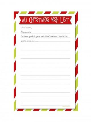 005 Sensational Printable Wish List Template Sample  Santa Free Secret320