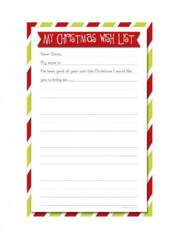 005 Sensational Printable Wish List Template Sample  Santa Free Secret360