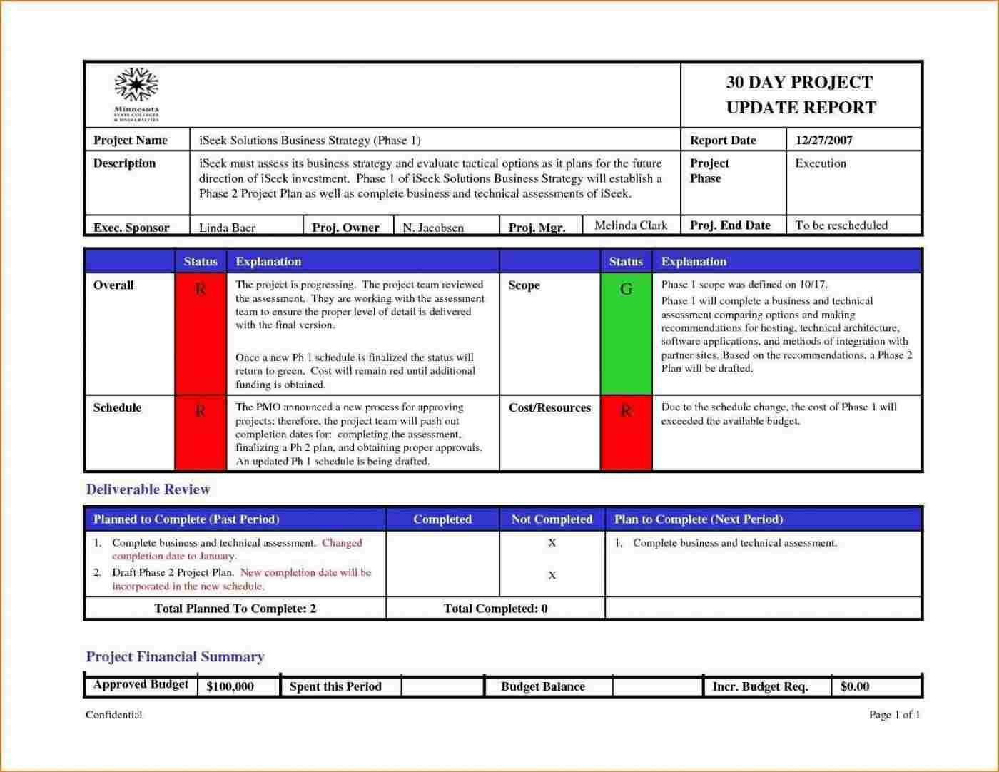 005 Sensational Project Management Report Template Free Example  Weekly StatuFull