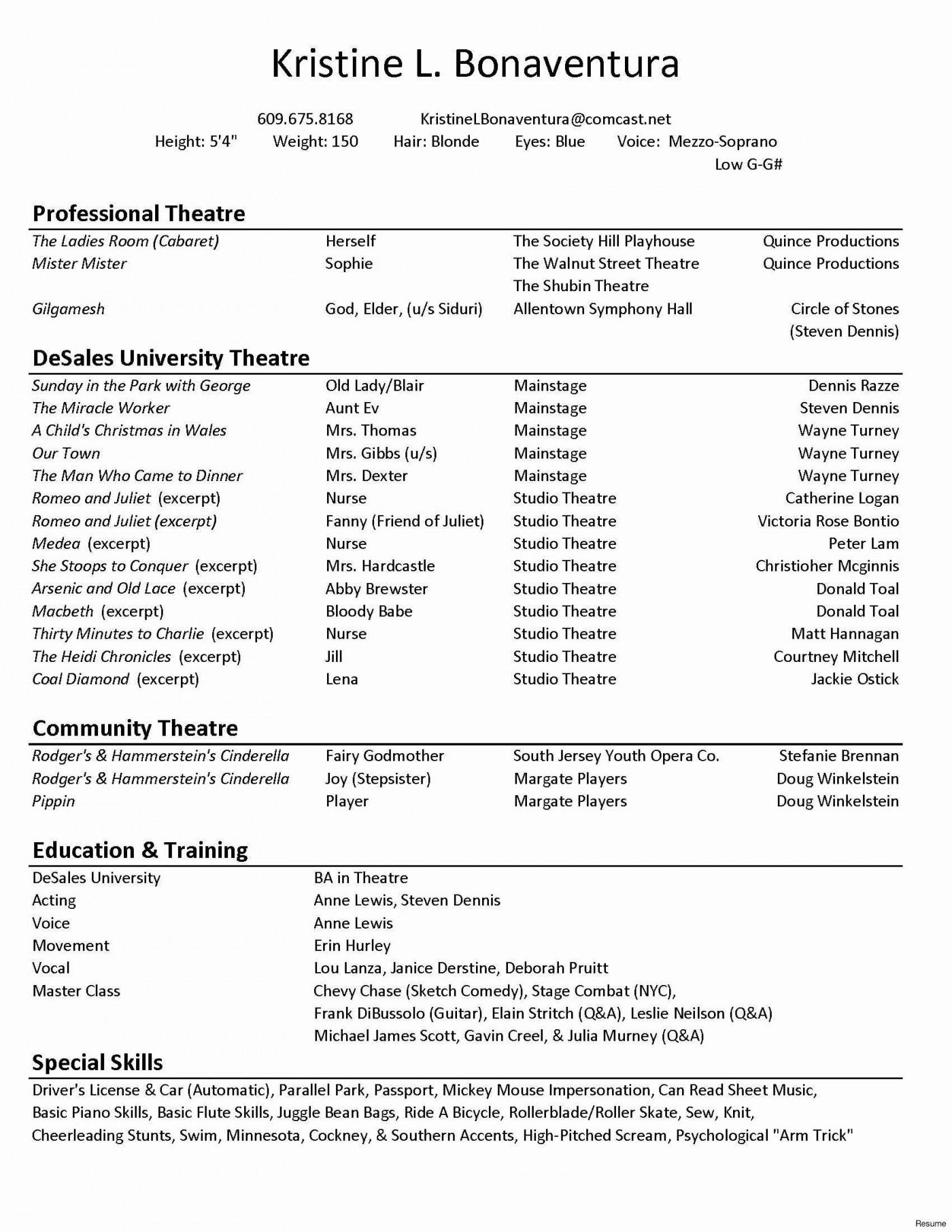 005 Sensational Technical Theatre Resume Template Concept  Google Doc Tech1400