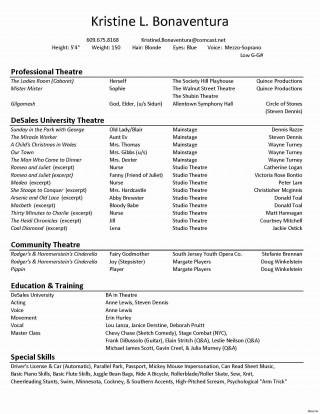 005 Sensational Technical Theatre Resume Template Concept  Google Doc Tech320