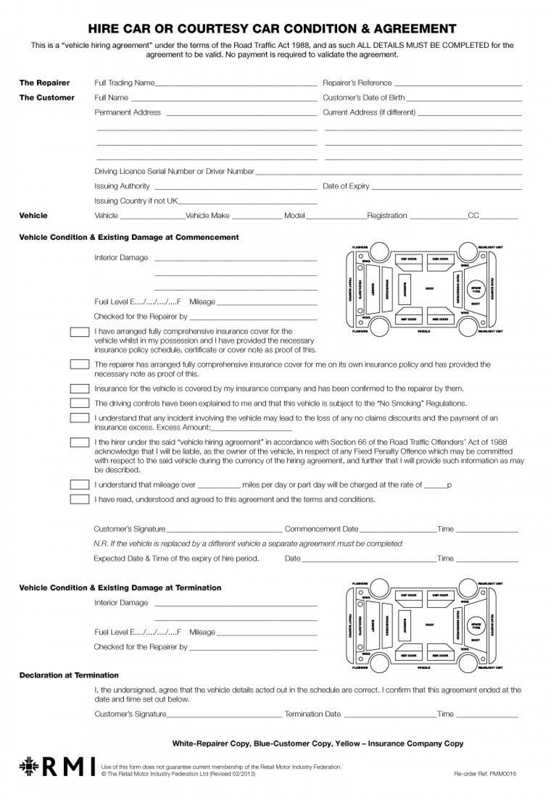 005 Sensational Template Car Rental Form Example  Checklist Free Printable1920