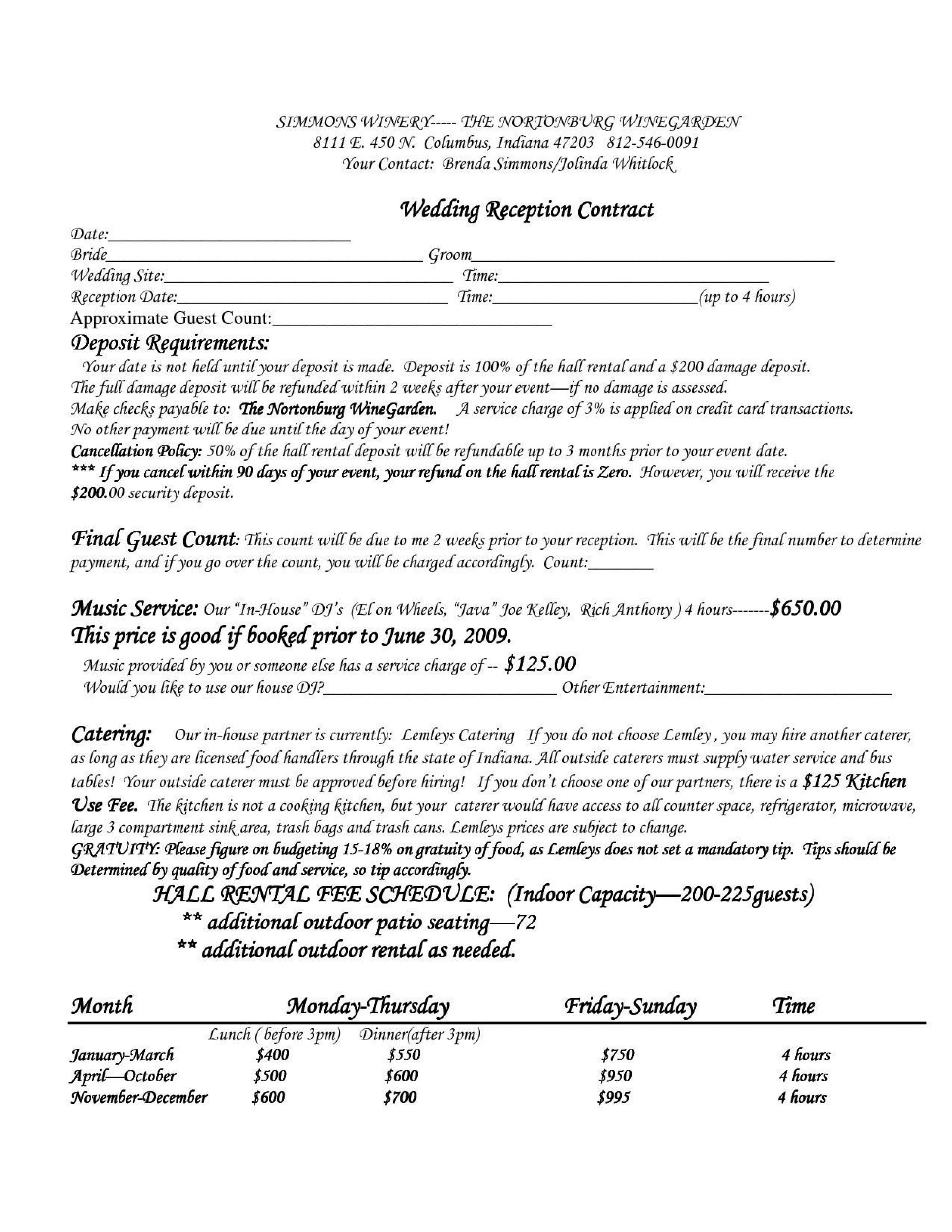 005 Sensational Wedding Venue Contract Template Design  Hire Sample Agreement1920
