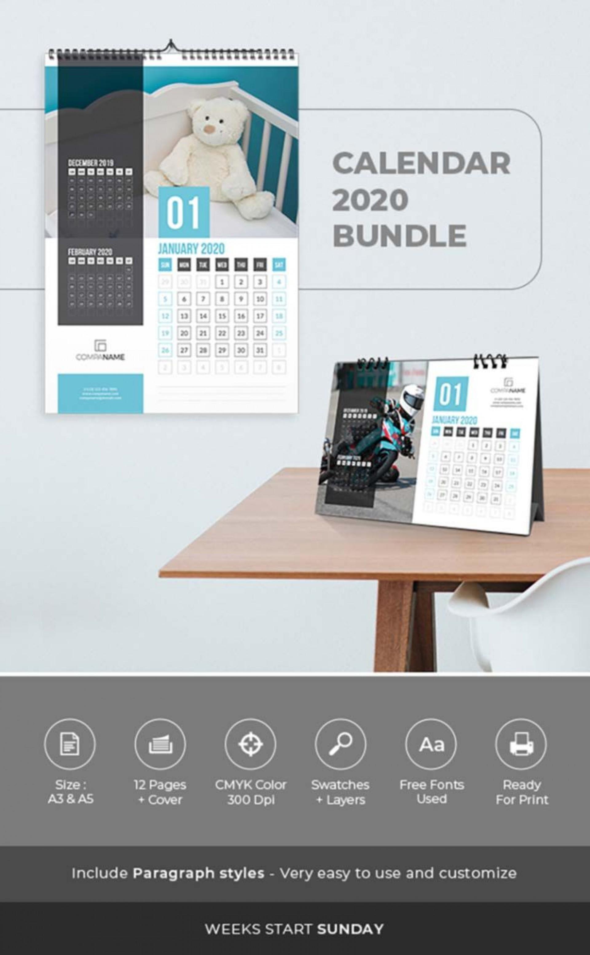 005 Shocking 2020 Calendar Template Indesign High Def  Adobe Free1920