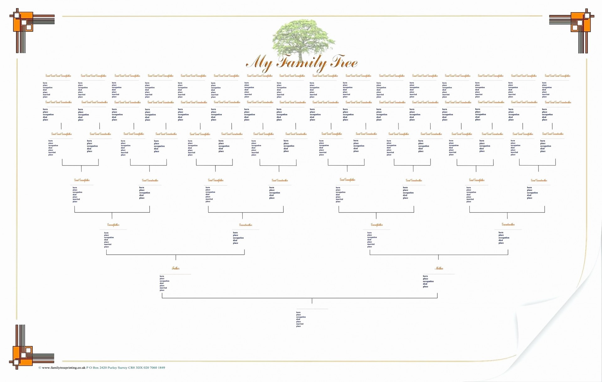 005 Shocking 7 Generation Family Tree Template Inspiration  Blank Free Editable1920