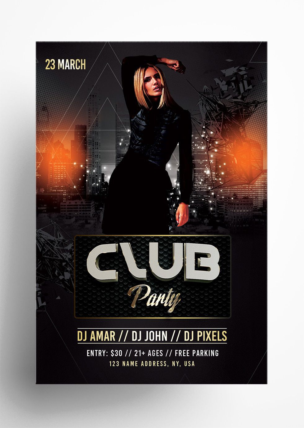 005 Shocking Club Party Flyer Template Free Design Full