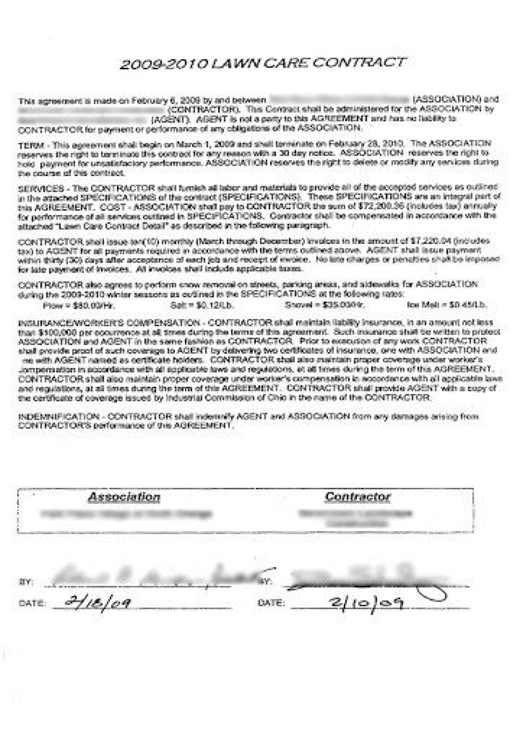 005 Shocking Commercial Lawn Care Bid Template Sample Large