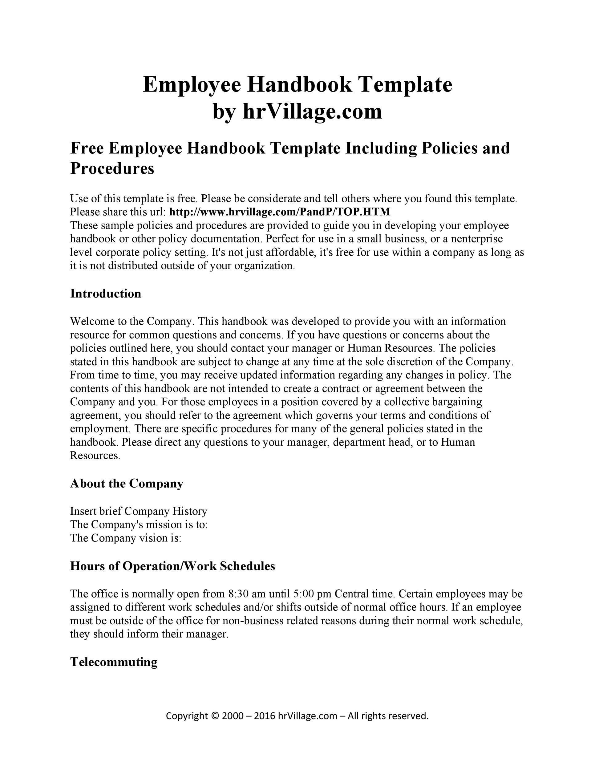 005 Shocking Free Employment Handbook Template Idea Full