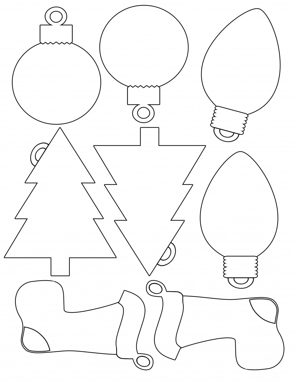 005 Shocking Printable Christma Ornament Template Picture  Templates Stencil Felt Pattern TreeLarge