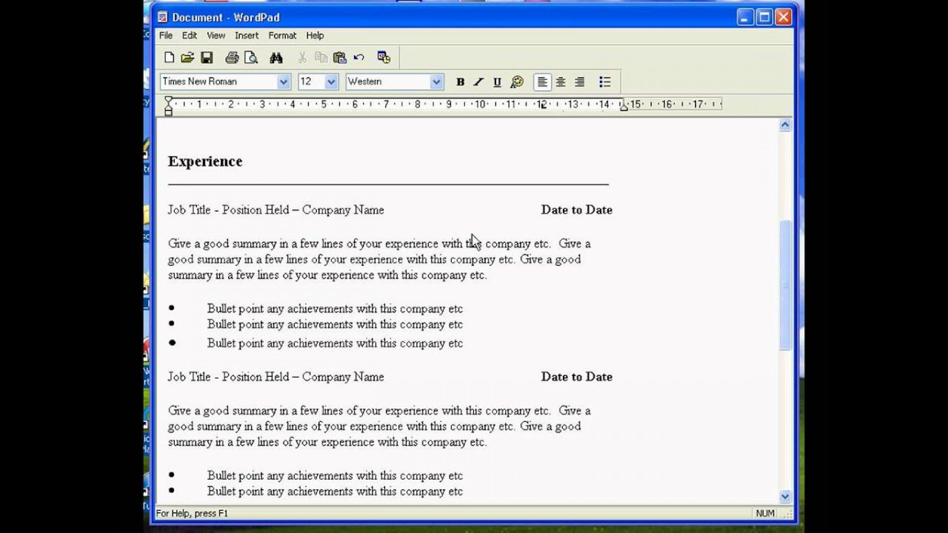 005 Shocking Resume Template For Wordpad Idea  Free Cv Download1920