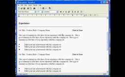 005 Shocking Resume Template For Wordpad Idea  Free Cv Download