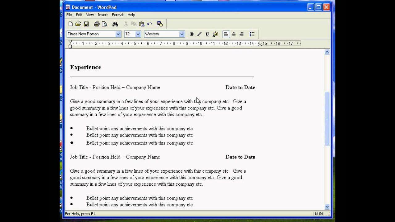005 Shocking Resume Template For Wordpad Idea  Free Cv DownloadFull