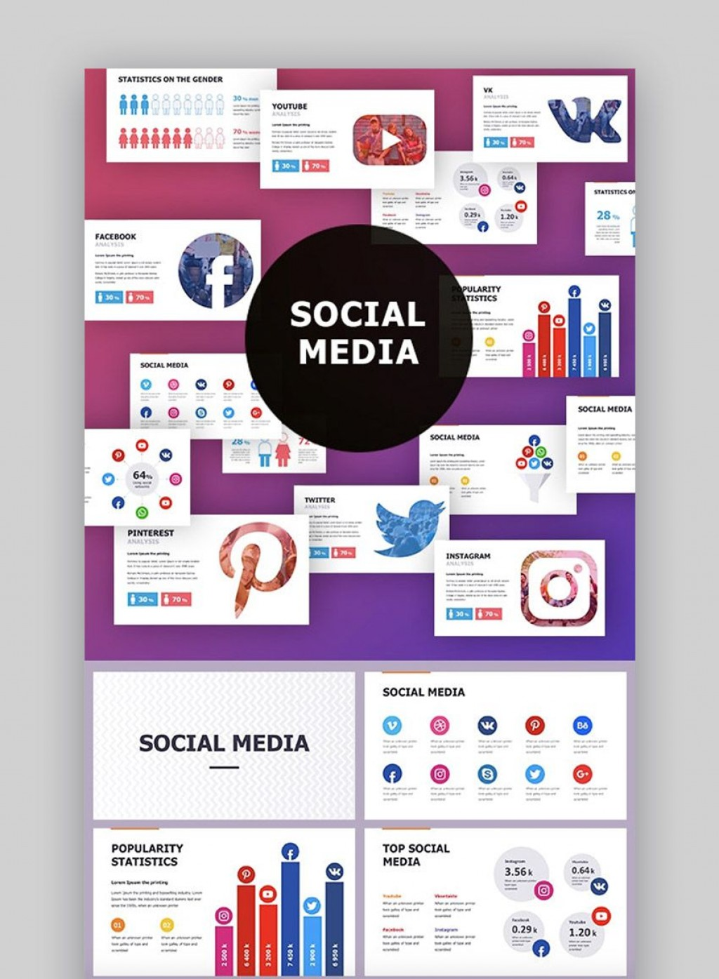 005 Shocking Social Media Strategy Powerpoint Template Image  Marketing Plan FreeLarge