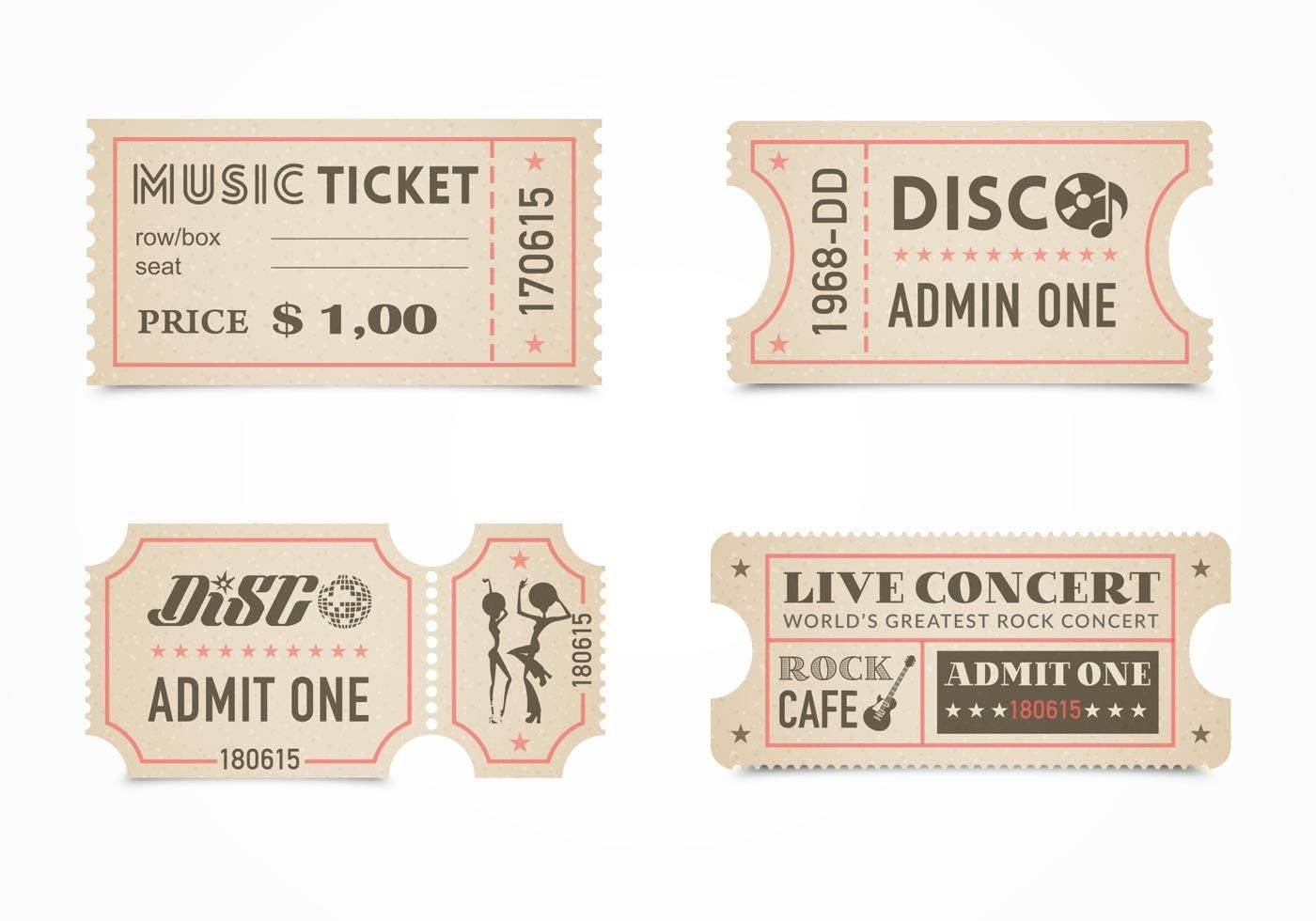005 Shocking Vintage Concert Ticket Template Free Download Inspiration Full