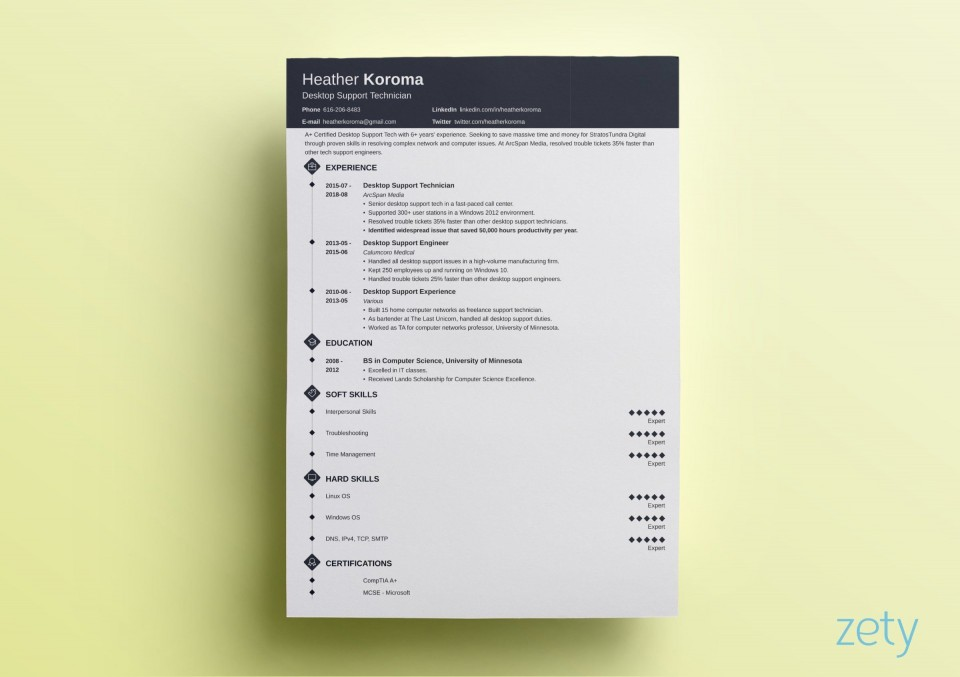 005 Simple 1 Page Resume Template Highest Quality  One Microsoft Word Free For Fresher960